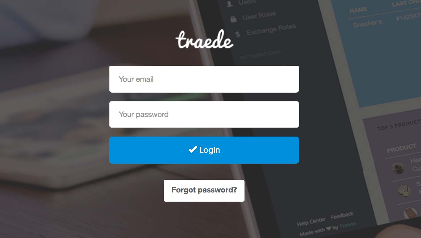 Login screen for OAuth 2 password flow
